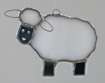 White and Black Sheep Stained Glass Home Decor Suncatcher