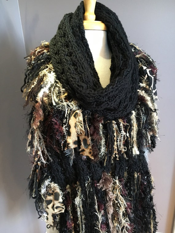 Knit Shawl with Fringe, 'Showstopper', Glitzy Ribbon Fringed Knit Scarf or Wrap in Black gold brown, cheetah print, boho, wide super scarf