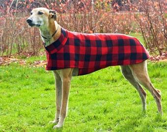 Short Collar Greyhound Coat in Fleece, size large--Greyhound Coat/Fleece Greyhound Coat/Short Collar Greyhound Coat/Winter Greyhound Coat