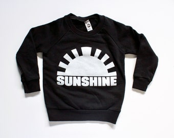 SUNSHINE - sweatshirt - kids graphic tee - clothing for boys - girls - toddler - children - hand printed - black and white