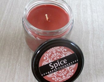 Spice Jar Candle, Super scented herbal candle, red brown wax candle, holiday scent, cinnamon scented candle