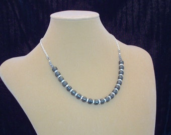 Hematite and Crystal Necklace (Non-magnetic)