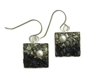 Mosaic Earrings - Pearls, Pyrite and Black Tourmaline