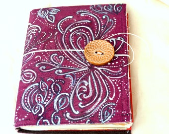 Painted Canvas Journal.  Removable Cover. Doodle Art