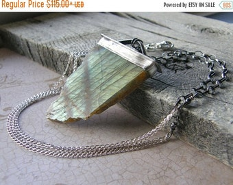 20% OFF Specimen Labradorite Metalwork Necklace, Extra Large Statement Gemstone Pendant and Sterling Silver Chain