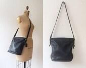 vintage Coach purse / black leather Coach / Coach shoulder bag