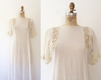 70s crochet dress / vintage crochet dress / Gauze & Crochet dress