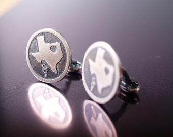 Sterling etched Texas cuff links