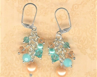 Peach and Aqua Bauble Earrings, Peach Pearl Earrings, Peach Prom Earring, Peach Bridesmaid Earring, Mother of the Bride, Aqua Bridesmaid