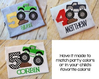 Monster truck birthday shirt. Custom birthday shirt. Personalized birthday shirt. Boy birthday. Applique birthday shirt.