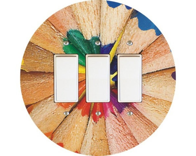 Pencil Color Wheel Triple Decora Rocker Switch Plate Cover