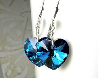 Marine Blue Heart Earrings, Sterling Silver, Royal Blue Teal Swarovski Crystal Dangle, Teen Girl Valentine Gift, Bridesmaid Favor, Handmade