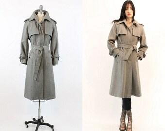 70s Coat Trenchcoat XS Small / 1970s Vintage Coat Gray Wool Belted / Gray Skies Coat