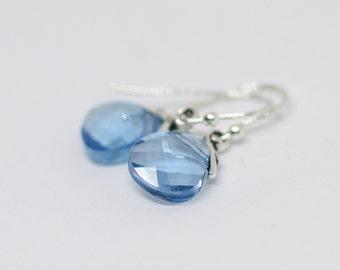 Blue Crystal Teardrop Earrings, Swarovski Crystal Aqua Crystal Briolette Earrings