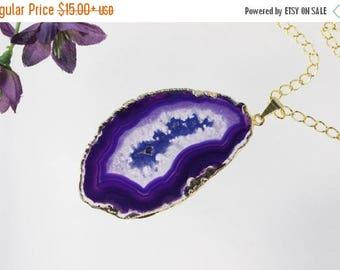 ON SALE Purple Agate Pendant, Agate Necklace,Crystal Agate Slice, Agate Slice, Gold Plated Agate, APS210