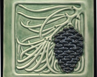"Craftsman style Light Green Pine Cone Tile  -- 6"" square Handmade Decorative Ceramic Tile"