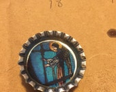 Faux Stained Glass Bottlecap Magnet - Angel of Prophecy