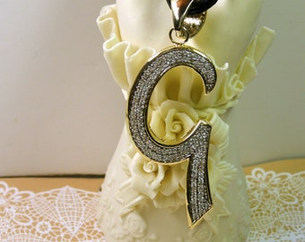 """INITIAL Letter G Pendant Necklace- Retro 1990s, 2 5/8"""" Rhinestone Initial-Large Bail"""