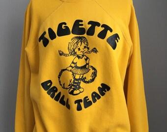 Vintage 1970s Tigette Drill Dance Team School Varsity Cheerleader Sweatshirt Size Medium