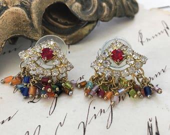 Rainbow Colored Rhinestone Fan Earrings