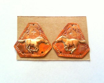 Lg. Artisan Running Horse Copper and Brass Earring Findings Pair