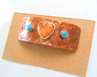 Artisan Copper with Spiney Oyster Heart & Turquoise Bracelet Link Finding