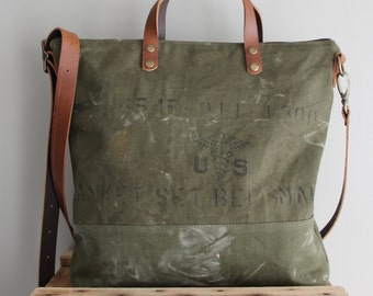 Vintage Military Blanket Bag Tote Olive Green USA Veteran Antique One of a Kind