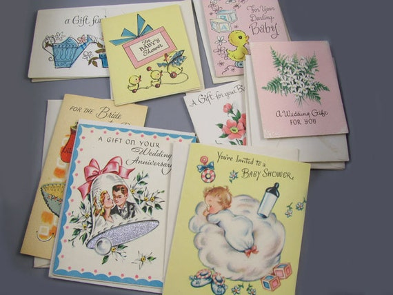 Small lot of 10 charming vintage / 1950s / 1960s / gift tags / greeting card / stationary / w envelopes / American Greetings / Wishing Well