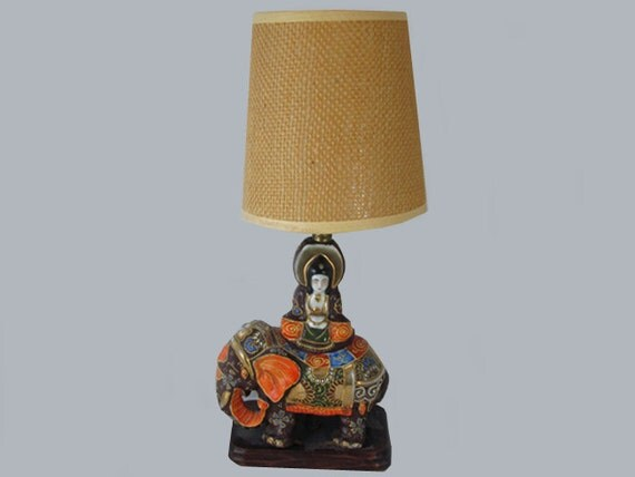 Vintage hand painted Elephant Japanese / India / Indian / Satsuma table lamp / pottery / Asian / Oriental / Japan / moriage / lighting
