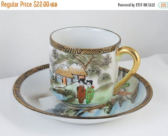 SPRING CLEANING SALE Vintage hand painted Ardalt Occupied Japan demitasse cup and saucer / porcelain / china / bone china / tea / coffee