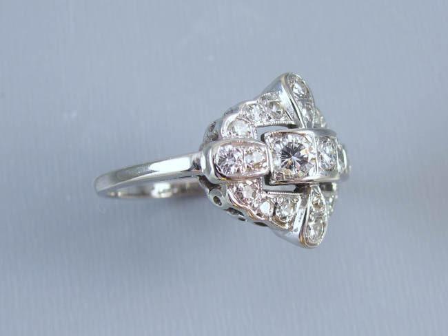Vintage Art Deco Retro Moderne 14k white gold 1.06 carat diamond ring, size 7-3/4 / wedding ring / anniversary ring / bridal / vintage bride