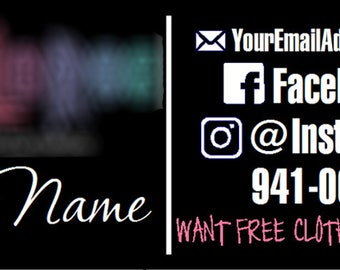 Fashion Consultant Side by Side Vehicle Decal with Phone Number - LLR - Customizable - Vinyl Graphic