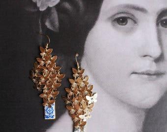 BUTTERFLY CLUSTER Portugal Blue Gold Antique AZULEJO Tile Replica Earrings, 1560 - Santa Maria da Feira  (see photo Convent)
