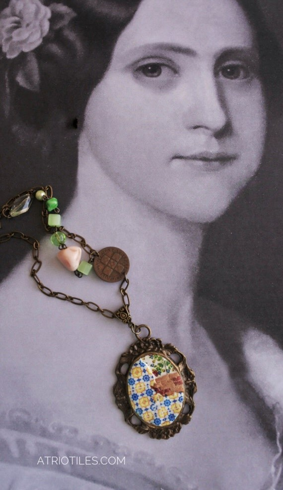 Portugal Antique Azulejo Tile Replica RESTORATION NECKLACE from Ovar and Lisbon - Antique Centavo coin and Antique beads OOAK