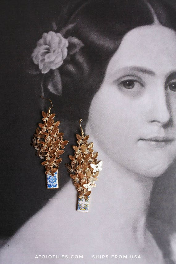 BUTTERFLY CLUSTER Portugal Blue Gold Antique AZULEJO Tile Replica Earrings, 1560 - Santa Maria da Feira  (see photo Convent)