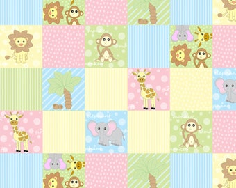 Dollhouse Miniature Small Scale Computer Printed Pink and Blue Quilt Animals Baby Floral