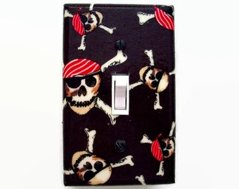 Pirate Light Switch Cover - Skulls and Crossbones Switchplate - Boys Room Decor - Pirate Bedroom - Boys Bedroom Wall Decor - Pirate Room