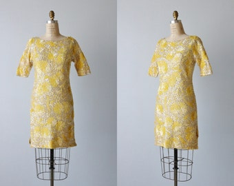 Vintage 1960s Yellow Sequin Dress / Sequin Sweater Dress / Golden Light