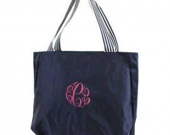 Personalized Hobo Nylon Navy Tote Bag