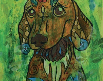 "Miniature Dachshund Dreamy - limited edition print - dog - 8"" x 10"""