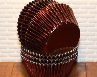 Copper Brown Foil Cupcake Liners  (Qty 50)  Lighter than Shown - Brown Foil Cupcake Liners, Brown Foil Baking Cups, Brown Cupcake Liners