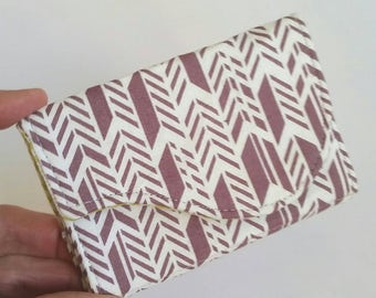 Chevron Business Card Fabric Holder Plum Purple White