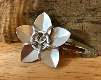 Shiny Champagne Scale Flower Barrette