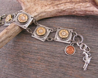 Bullet Jewelry - Bullet Bracelet - Mixed Metal Bullet or Rifle Casing Square Composition or Link Style Bracelet