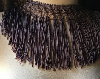 Smokey Purple Fringe Trim in Rayon for Reenactment Costumes, Garments