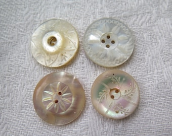 Antique MOP Buttons in Natural Intricate Carved Shell/ Mother of Peral Buttons Mix and Match Set of 4