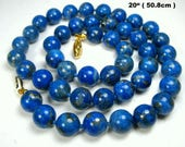 Lapis Lazuli Blue Round Stone Bead Necklace , Hand Knotted,  1980s Classic and Timeless Necklace