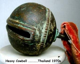 Heavy Cow BELL, Farm Style, HANDMADE, Vintage, Heavily Patina'd, Sonorous and Loud, Musical Not Clanging, Thailand 1970s