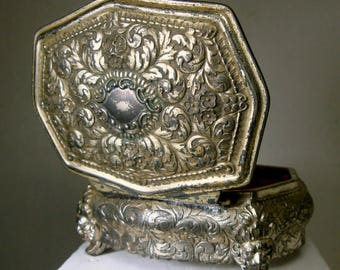 Ornate Metal Jewelry Box, 1950s Japan, Shabby Silvertone Hinged Box, Rococco Style, Post WWII, Man or Woman, Red Lined
