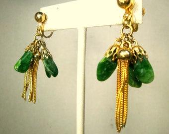 Jade Green and Gold Screwback Earrings, 1960s Dangling Nuggets, Gold Tassel Chain